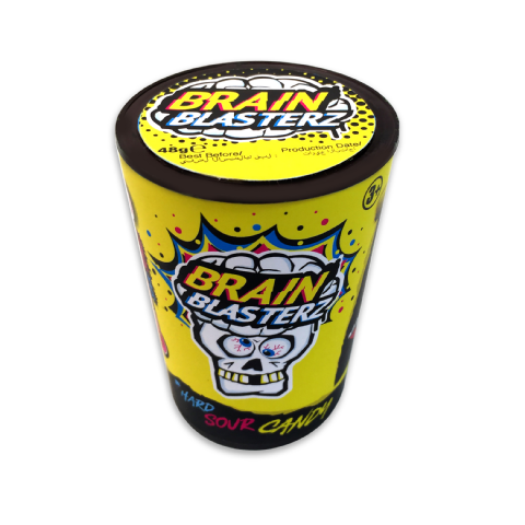 Fruit Mega Sour Hard Drum Brain Blasterz - Candy Sweets Bon Bon Buddies 48g